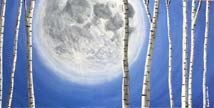 Moon with Birch Trees